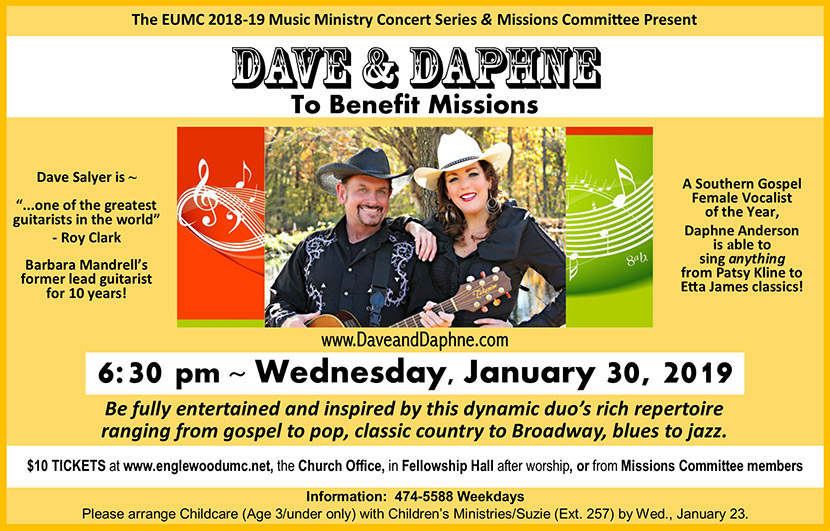 Dave and Daphne Missions Concert Flyer