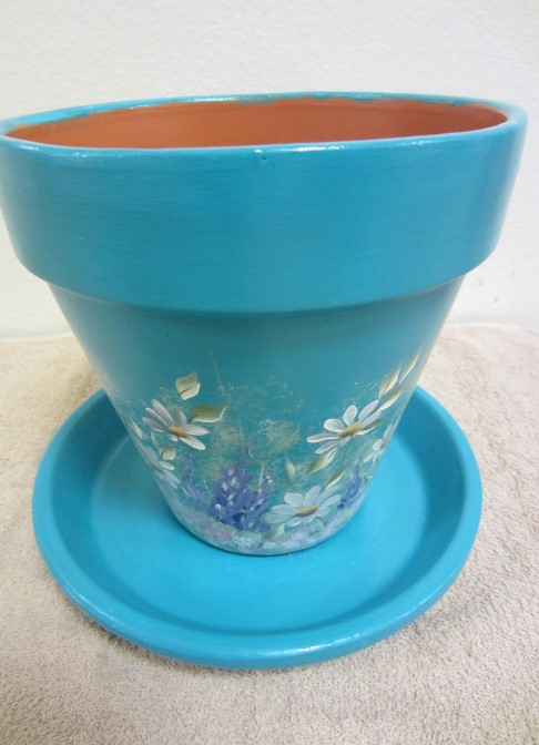 Blue Painted Pot with white flowers