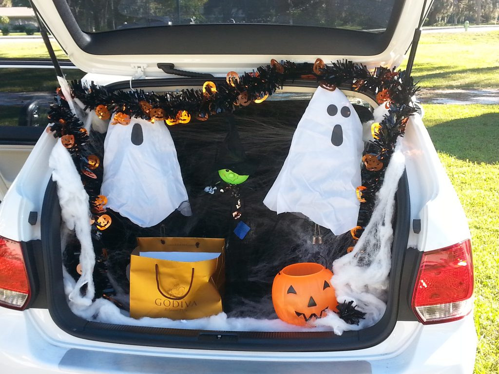 trunk of car decorated for Halloween